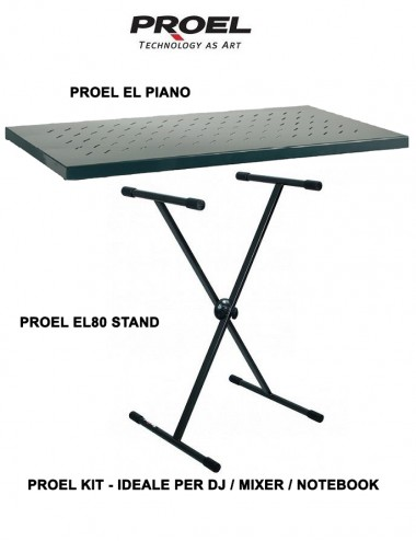 Proel Kit EL80 Stand regolabile per Dj, Mixer e Notebook + EL Piano Mensola